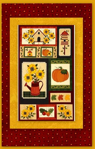 Easy,Fabric,Panel,Quilt,Kit,Harvest,Song,Autumn,Fall,kit,quilt fabric,cotton material,auntie chris quilt,sewing,crafts,quilting,online fabric,sale fabric