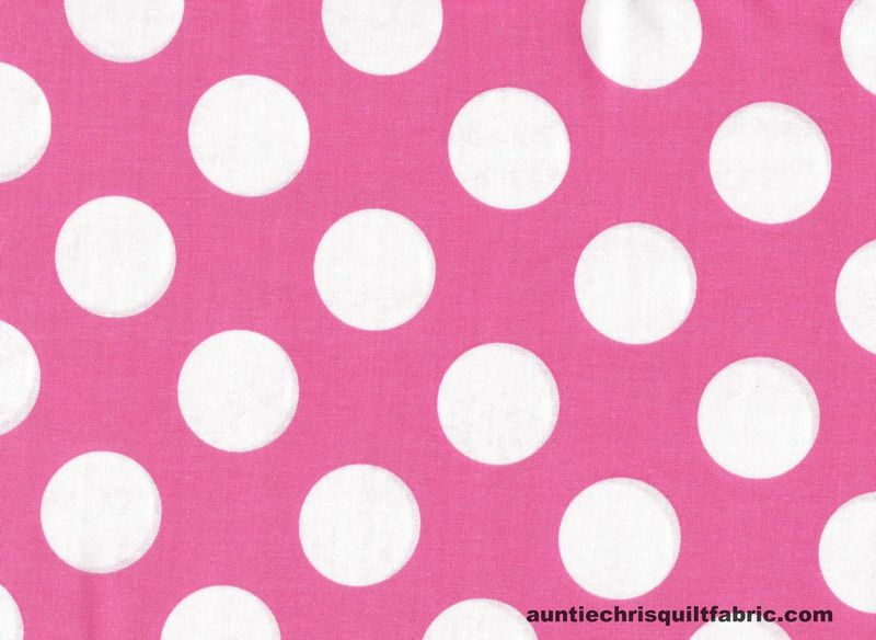 "Cotton Quilt Fabric Lt Pink White Bigger Dot Polka Dots 1 1/2"" dot - product images  of"