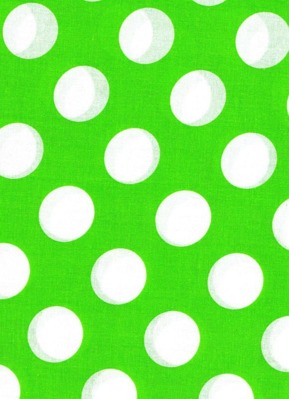 "Cotton Quilt Fabric Lime Green White Bigger Dot Polka Dots 1 1/2"" dot - product images  of"