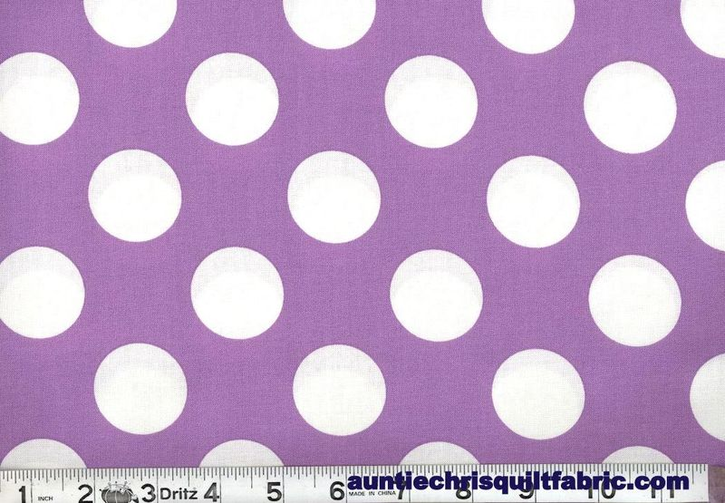 "Cotton Quilt Fabric Lavender White Bigger Dot Polka Dots 1 1/2"" dot - product images  of"