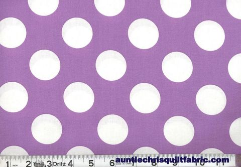 Cotton,Quilt,Fabric,Lavender,White,Bigger,Dot,Polka,Dots,1,1/2,dot,,quilt backing, dresses, quilt fabric,cotton material,auntie chris quilt,sewing,crafts,quilting,online fabric,sale fabric