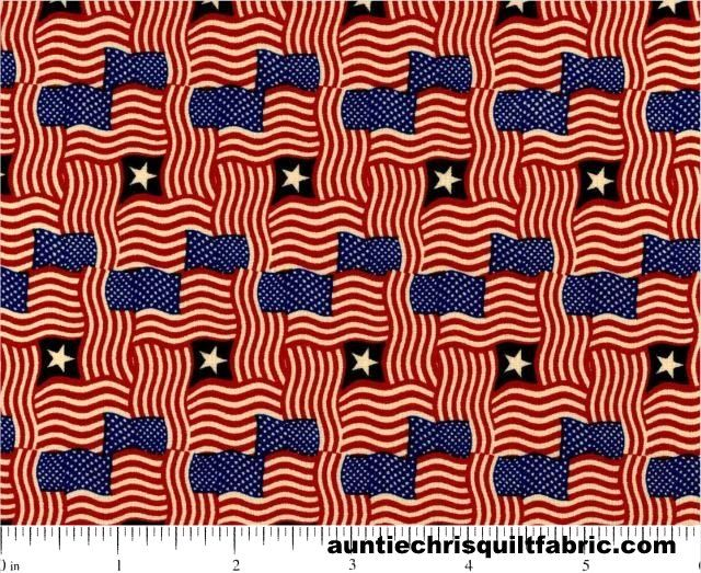 Cotton Quilt Fabric Patriotic USA Made Packed Flags American Flags Red White Blue - product images  of