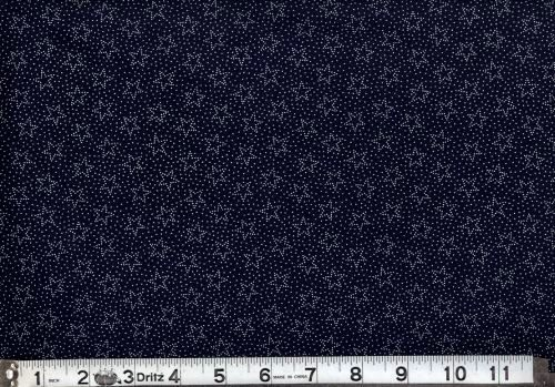 Cotton Quilt Fabric Patriotic USA Navy Blue White Stars Dots  - product images  of