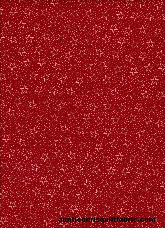 Cotton Quilt Fabric Patriotic USA Red White Stars Dots  - product images  of