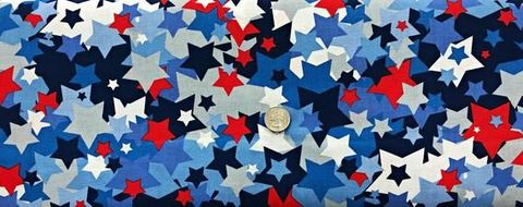 Cotton,Quilt,Fabric,Patriotic,USA,Made,Scrambled,Stars,Red,White,Blue,,quilt backing, dresses, quilt fabric,cotton material,auntie chris quilt,sewing,crafts,quilting,online fabric,sale fabric