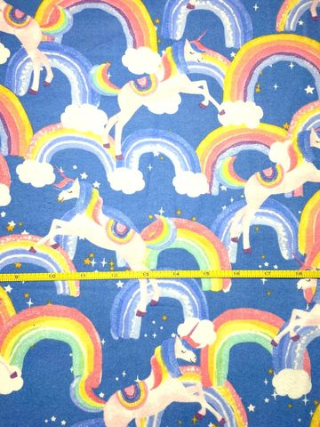 Cotton,Quilt,Fabric,Flannel,Rainbow,Unicorns,Blue,Multi,,quilt backing, dresses, quilt fabric,cotton material,auntie chris quilt,sewing,crafts,quilting,online fabric,sale fabric