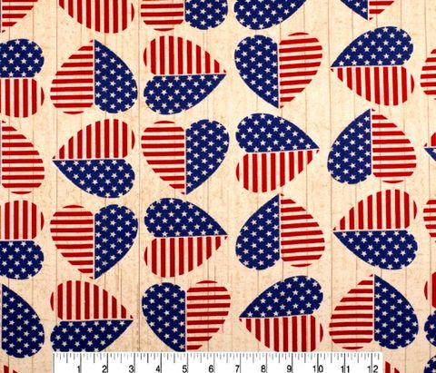 Cotton,Quilt,Fabric,Flannel,American,Hearts,Patriotic,Flags,,quilt backing, dresses, quilt fabric,cotton material,auntie chris quilt,sewing,crafts,quilting,online fabric,sale fabric