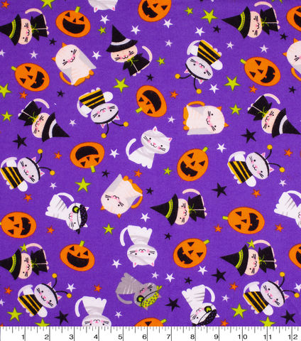 Cotton,Quilt,Fabric,Flannel,Halloween,Cats,Pumpkins,Ghosts,Purple,,quilt backing, dresses, quilt fabric,cotton material,auntie chris quilt,sewing,crafts,quilting,online fabric,sale fabric