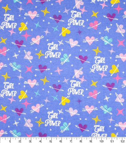 Cotton,Quilt,Fabric,Flannel,Girl,Power,Hearts,Blue,Multi,,quilt backing, dresses, quilt fabric,cotton material,auntie chris quilt,sewing,crafts,quilting,online fabric,sale fabric