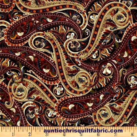 Cotton,Quilt,Fabric,Tivoli,Paisley,Floral,Gold,Metallic,Wine,Red,Multi,,quilt backing, dresses, quilt fabric,cotton material,auntie chris quilt,sewing,crafts,quilting,online fabric,sale fabric