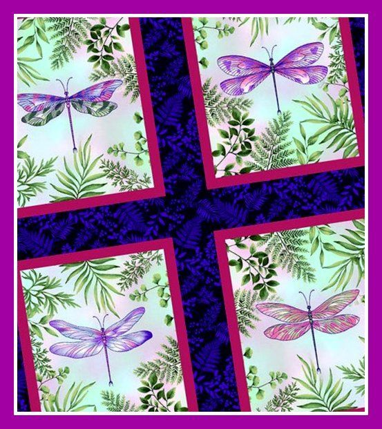 Cotton Quilt Fabric Dragonfly Garden Dragonfly Panel Medley Panel + 2 Yds - product images  of