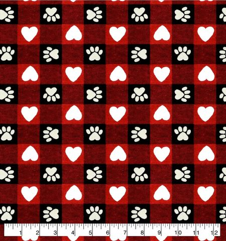 Cotton,Quilt,Fabric,Flannel,Paws,And,Hearts,Red,Buffalo,Check,,quilt backing, dresses, quilt fabric,cotton material,auntie chris quilt,sewing,crafts,quilting,online fabric,sale fabric