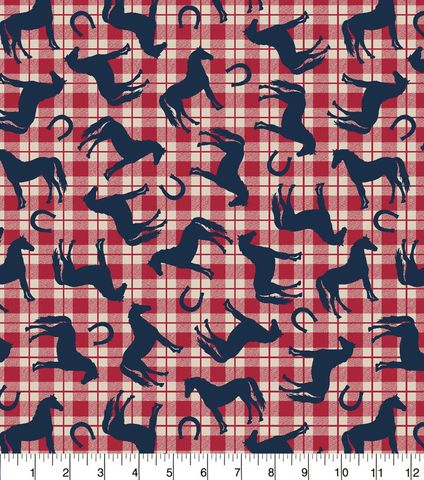 Cotton,Quilt,Fabric,Flannel,Horse,Plaid,Red,White,Blue,,quilt backing, dresses, quilt fabric,cotton material,auntie chris quilt,sewing,crafts,quilting,online fabric,sale fabric