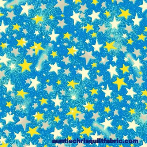 Cotton,Quilt,Fabric,Quality,Flannel,A.E.,Nathan,Stars,Starburst,Sky,Blue,,quilt backing, dresses, quilt fabric,cotton material,auntie chris quilt,sewing,crafts,quilting,online fabric,sale fabric