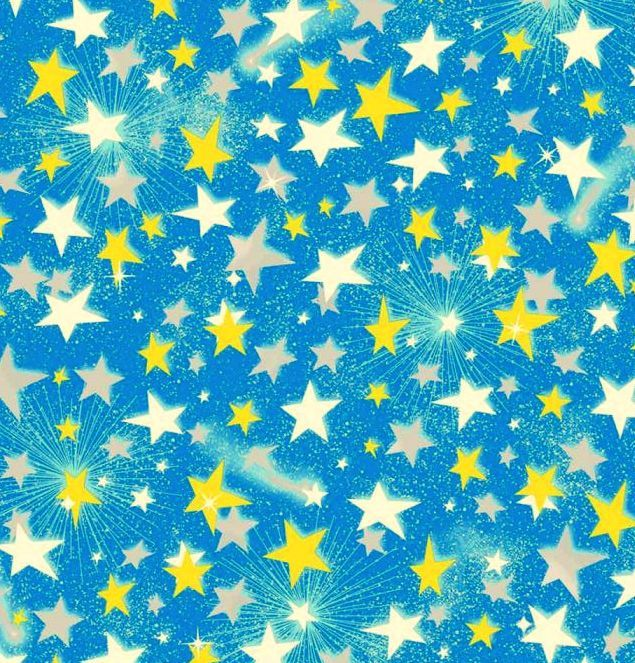 Cotton Quilt Fabric Quality Flannel A.E. Nathan Stars Starburst Sky Blue - product images  of
