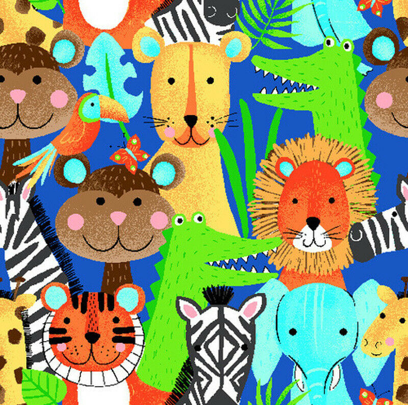 Cotton Quilt Fabric Quality Flannel A.E. Nathan Safari Animals Blue  - product images  of