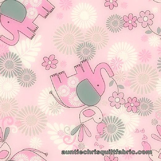 Cotton Quilt Fabric Quality Flannel A.E. Nathan Baby Elephant Floral Pink - product image