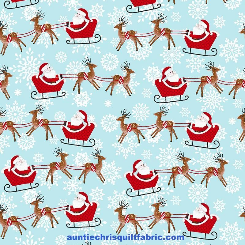 Cotton Quilt Fabric Christmas Peace & Goodwill Santa's Sleighs Blue White - product images  of