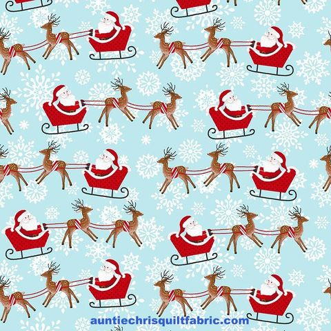 Cotton,Quilt,Fabric,Christmas,Peace,&,Goodwill,Santa's,Sleighs,Blue,White,,quilt backing, dresses, quilt fabric,cotton material,auntie chris quilt,sewing,crafts,quilting,online fabric,sale fabric