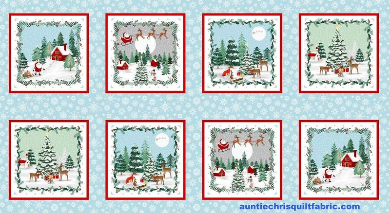 "Cotton Quilt Fabric Christmas Peace & Goodwill Block Panel 24"" - product images  of"