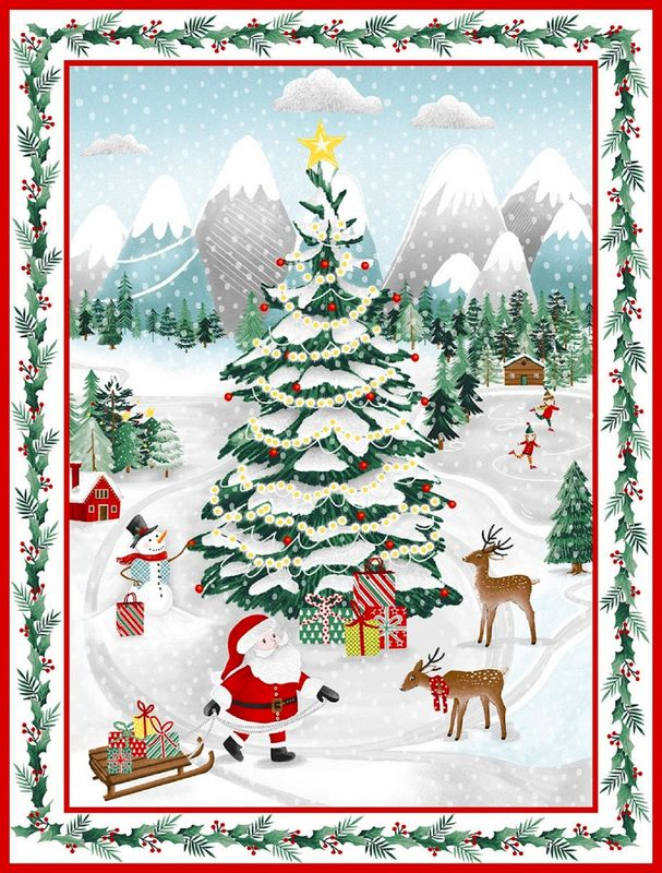 "Cotton Quilt Fabric Christmas Peace & Goodwill Christmas Wonderland Panel 24"" - product images  of"