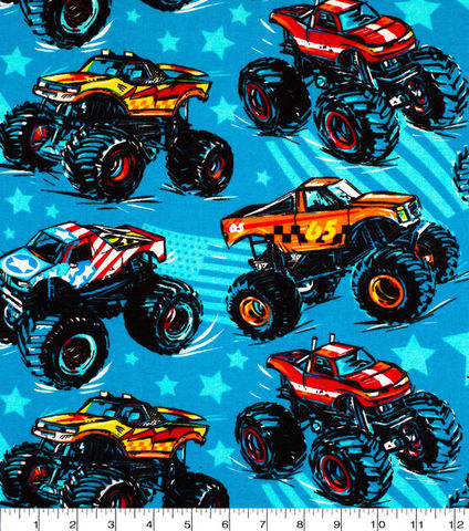 Cotton,Quilt,Fabric,Flannel,Monster,TrucksTurquoise,Multi,,quilt backing, dresses, quilt fabric,cotton material,auntie chris quilt,sewing,crafts,quilting,online fabric,sale fabric