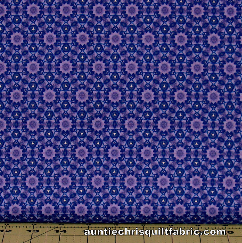 Cotton Quilt Fabric Marcella Purple Kaleidoscope Geometric - product images  of