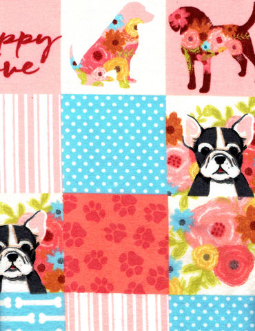 Cotton,Quilt,Fabric,Flannel,Puppy,Love,Patch,Pink,Multi,,quilt backing, dresses, quilt fabric,cotton material,auntie chris quilt,sewing,crafts,quilting,online fabric,sale fabric