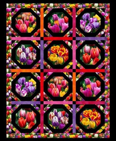 Cotton,Quilt,Fabric,Elizabeth's,Studio,Digital,Garden,Tulips,Black,Panel,,quilt backing, dresses, quilt fabric,cotton material,auntie chris quilt,sewing,crafts,quilting,online fabric,sale fabric