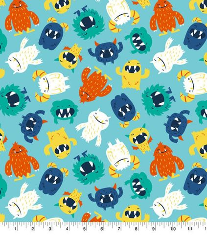Cotton,Quilt,Fabric,Flannel,Friendly,Monsters,Blue,Multi,,quilt backing, dresses, quilt fabric,cotton material,auntie chris quilt,sewing,crafts,quilting,online fabric,sale fabric