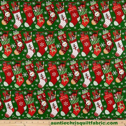 Cotton,Quilt,Fabric,Christmas,Cheer,Stockings,Green,Multi,,quilt backing, dresses, quilt fabric,cotton material,auntie chris quilt,sewing,crafts,quilting,online fabric,sale fabric
