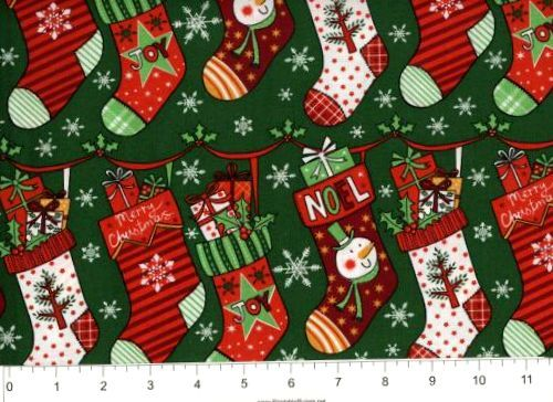 Cotton Quilt Fabric Christmas Cheer Stockings Green Multi - product images  of