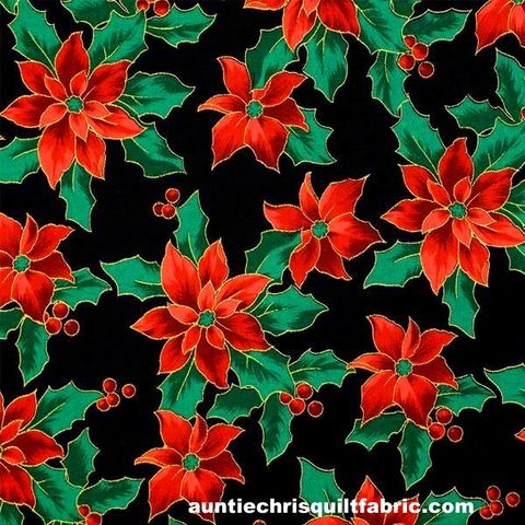 Cotton,Quilt,Fabric,Merry,Christmas,Metallic,Poinsettias,Black,,quilt backing, dresses, quilt fabric,cotton material,auntie chris quilt,sewing,crafts,quilting,online fabric,sale fabric