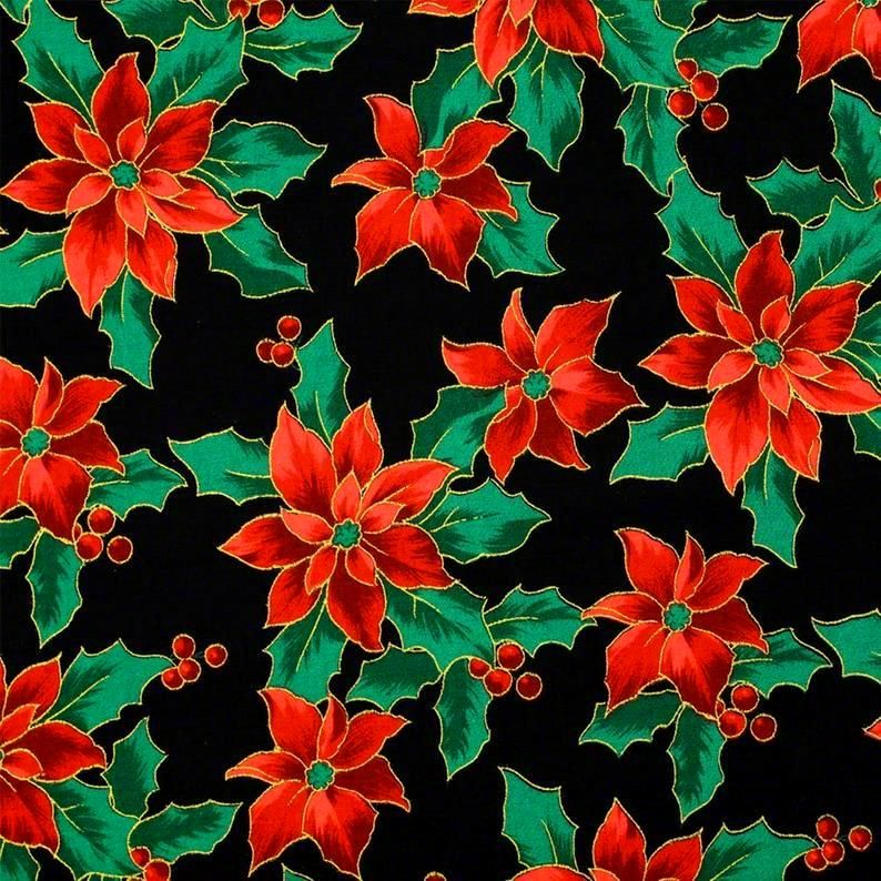 Cotton Quilt Fabric Merry Christmas Metallic Poinsettias Black - product images  of