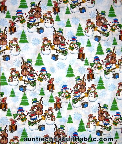 Cotton,Quilt,Fabric,Christmas,Cheer,Snowman,Band,Music,White,Multi,,quilt backing, dresses, quilt fabric,cotton material,auntie chris quilt,sewing,crafts,quilting,online fabric,sale fabric