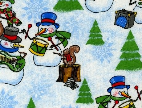 Cotton Quilt Fabric Christmas Cheer Snowman Band Music White Multi - product images  of