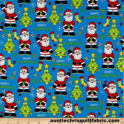 Cotton,Quilt,Fabric,Christmas,Cheer,Santa,Claus,Blue,Multi,,quilt backing, dresses, quilt fabric,cotton material,auntie chris quilt,sewing,crafts,quilting,online fabric,sale fabric