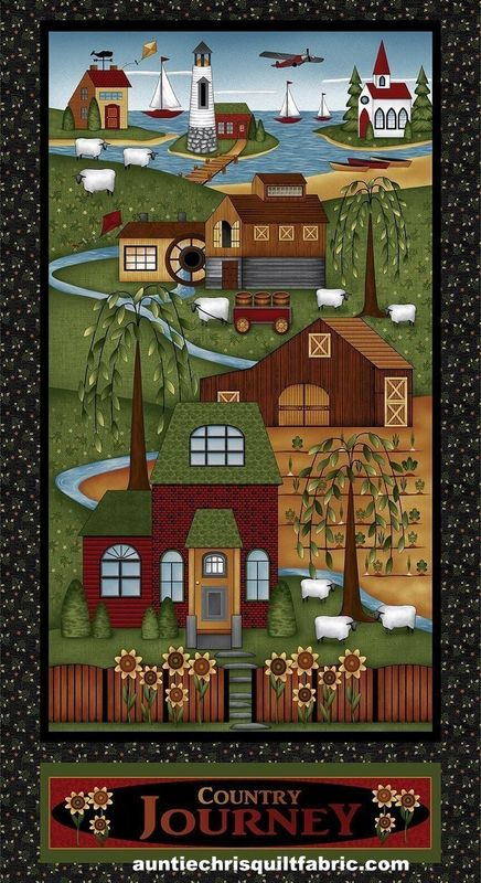 "Cotton Quilt Fabric Panel Country Journey Scenic Americana 24"" - product images  of"