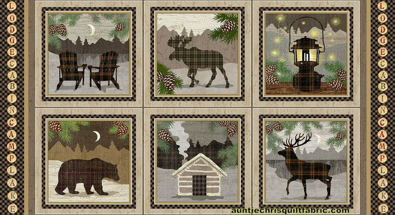 "Cotton Quilt Fabric Panel Twilight Lake Blocks Cabin Moose Elk Deer Bear 24"" - product images  of"