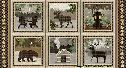 Cotton,Quilt,Fabric,Panel,Twilight,Lake,Blocks,Cabin,Moose,Elk,Deer,Bear,24,,quilt backing, dresses, quilt fabric,cotton material,auntie chris quilt,sewing,crafts,quilting,online fabric,sale fabric
