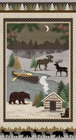 Cotton,Quilt,Fabric,Panel,Twilight,Lake,Scenic,Cabin,Moose,Elk,Deer,Bear,24,,quilt backing, dresses, quilt fabric,cotton material,auntie chris quilt,sewing,crafts,quilting,online fabric,sale fabric