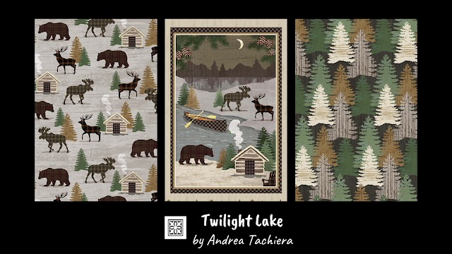 Cotton Quilt Fabric Panel Twilight Lake Blocks Cabin Moose Elk Deer Bear 24