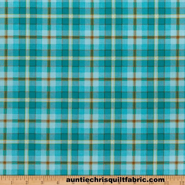 Cotton Quilt Fabric Live Love Meow Blue Plaid Henry Glass - product images  of