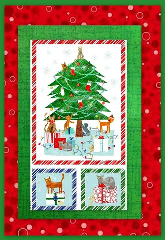 Easy,Fabric,Panel,Quilt,Kit,Make,Merry,Christmas,Cats,kit,quilt fabric,cotton material,auntie chris quilt,sewing,crafts,quilting,online fabric,sale fabric