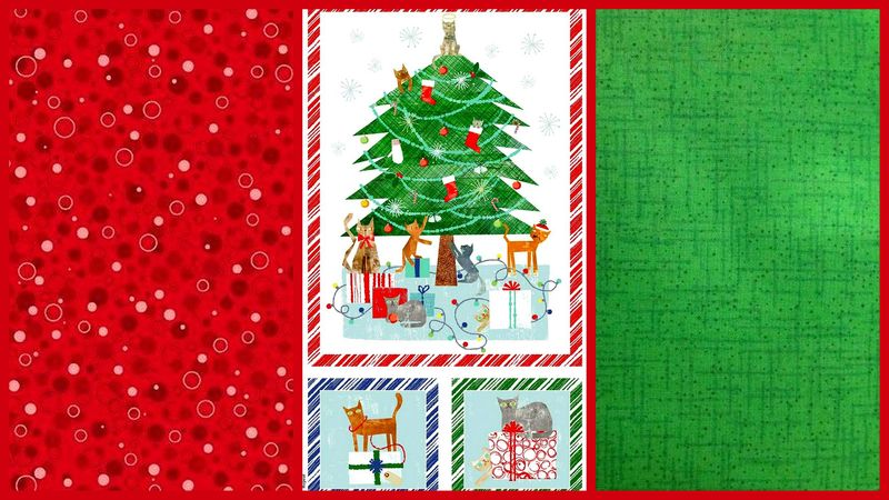 Easy Fabric Panel Quilt Kit Make Merry Christmas Cats Panel Kit  - product images  of