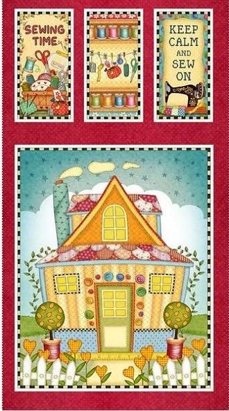 "Cotton Quilt Fabric Panel Sew Let's Stitch Sewing Quilting Shop 24"" - product images  of"