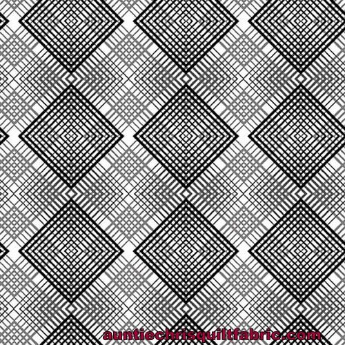 Cotton Quilt Fabric Black White And Red Hot Geo Plaid Black White - product images  of
