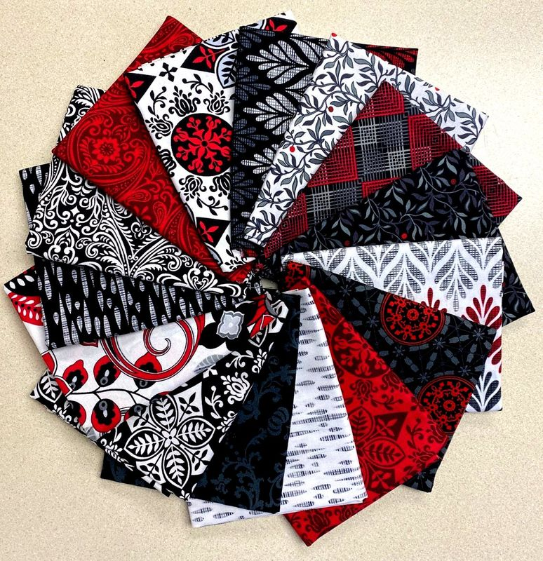 Cotton Quilt Fabric Black White And Red Hot Red Medallion  - product images  of