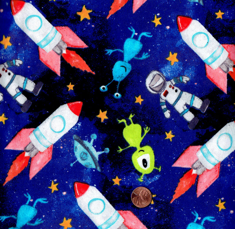 Cotton Quilt Fabric Flannel Outer space Astronaut Aliens Navy Blue Multi - product image