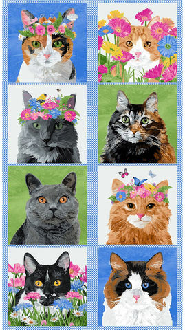 Cotton,Quilt,Fabric,Panel,MEOW,MEADOW,ART,CATS,AND,FLOWERS,PANEL,BLUE,,quilt backing, dresses, quilt fabric,cotton material,auntie chris quilt,sewing,crafts,quilting,online fabric,sale fabric